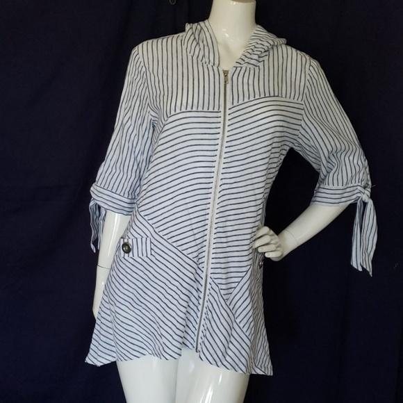 b541b69ec5240 For Cynthia Swim | Linen Blend Tunic Beachwear Hoodie | Poshmark